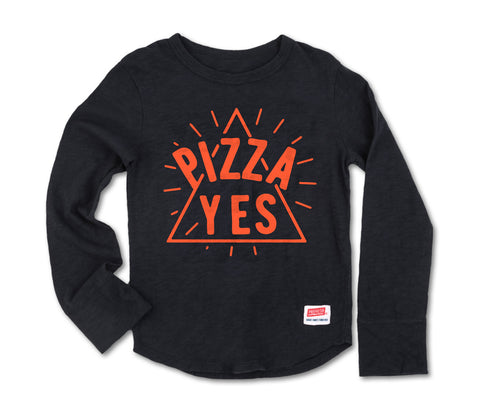Pizza Yes - Long Sleeve Vintage Black