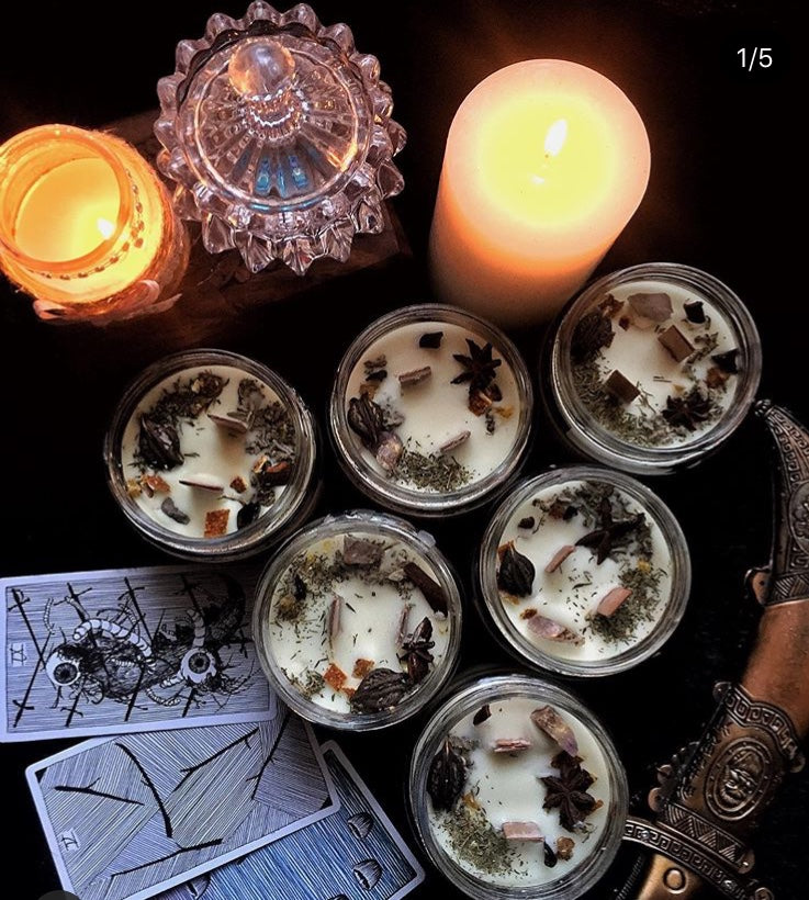New Moon Beginning - The Ultimate Smudge - Wax -200 Gm + Wooden Wick - 1 Candle