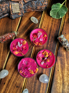 Magenta Scented Tea Light Candles - Rose Petals & Rose Quarts