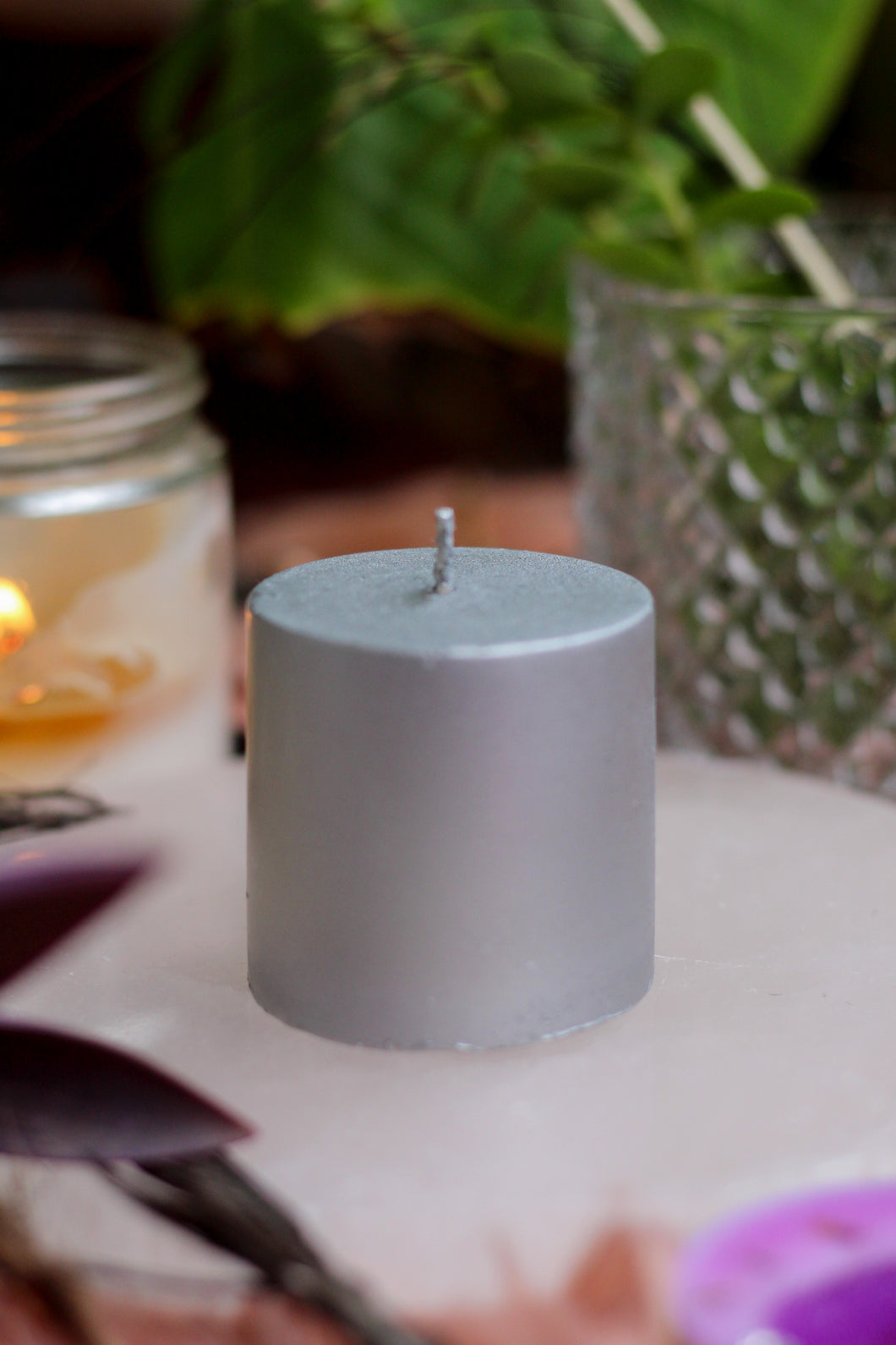 Silver Pillar Candle (Goddess)