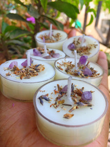 Scented Tea Light Candles Set of 6 - Infused with Lavender & Amethyst