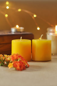 Lilith Small Yellow Pillar Candle - 2 Inch Pack of 2