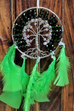 Load image into Gallery viewer, Green Tree Life Symbol Dream Catcher