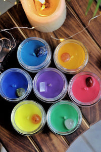 Seven Chakra Scented Candle with Crystal - Set of 7 Soy Candle - 100 g