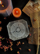 Load image into Gallery viewer, Selenite Plate with Symbol of Hecate Circle