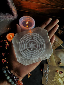 Selenite Plate with Symbol of Hecate Circle