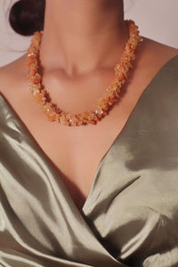 Orange Carnelian Chips Necklace | Crystal  Jewellery | Gift for Her