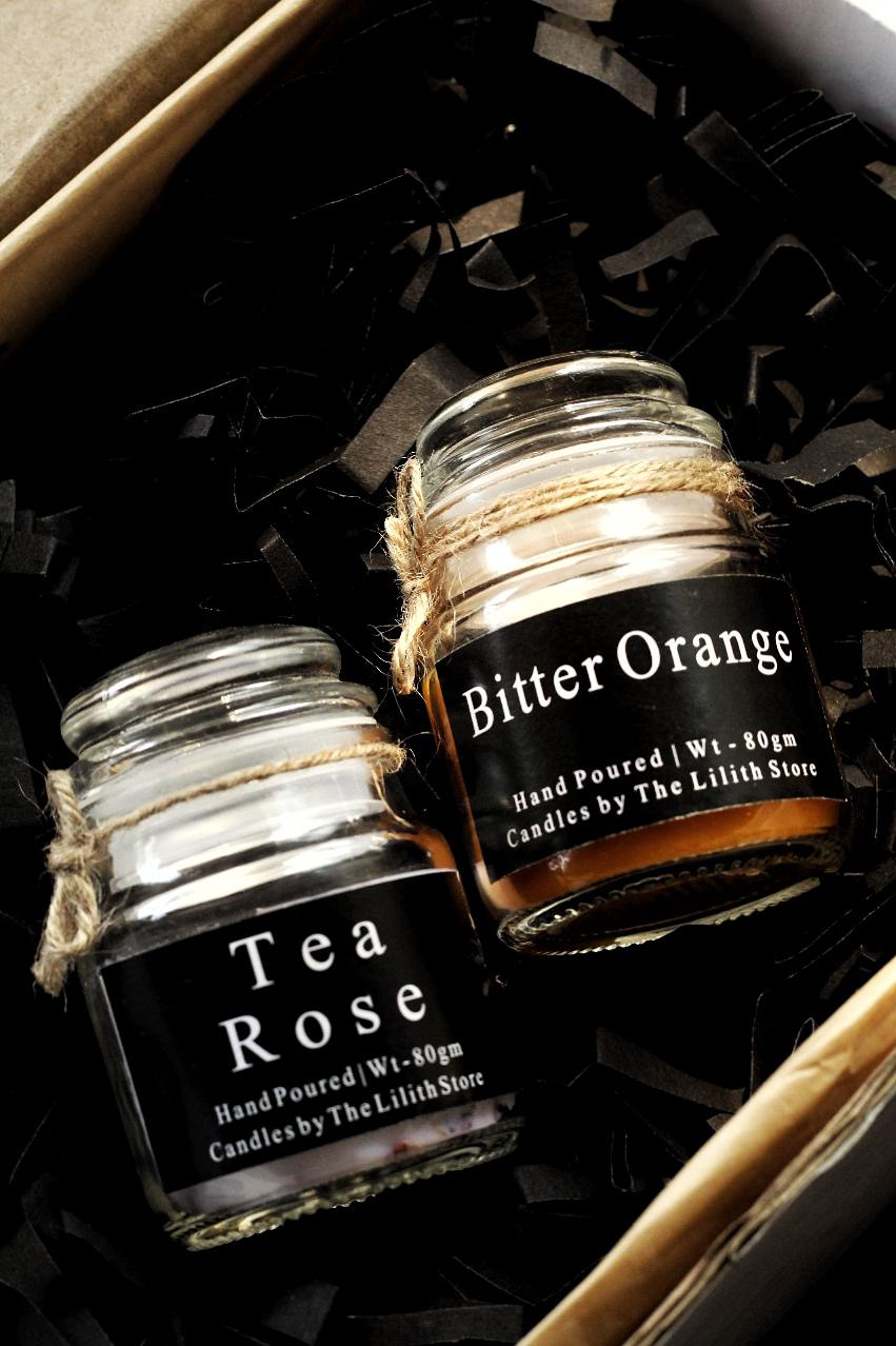 Tea Rose & Bitter Orange Scented Candle - 80 Gm