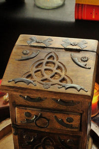 Hand Crafted Triquetra / Trinity Knot Herb Chest ,Altar Box, Herb Chest, Wiccan Herb Chest