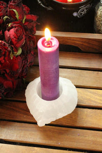 Leaf Shape Selenite Candle Holder