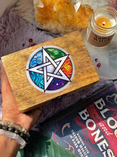 Load image into Gallery viewer, Pentacle empty wooden Box with Elemental details