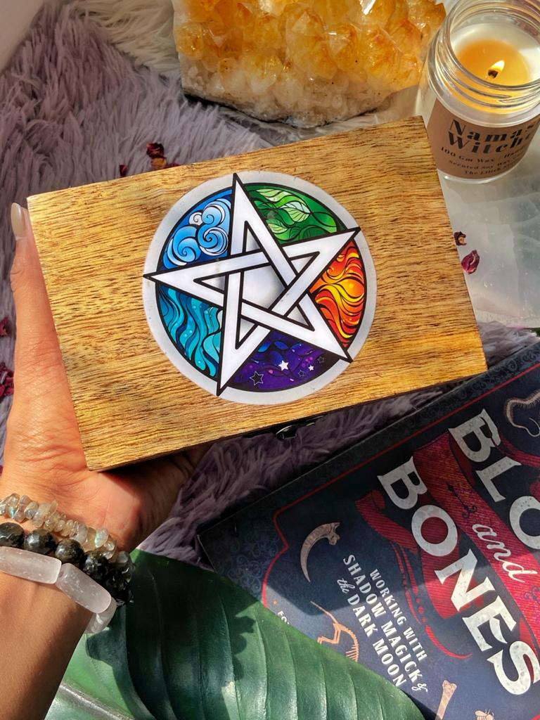 Pentacle empty wooden Box with Elemental details