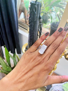 Selenite Silver Adjustable Ring