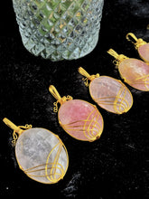 Load image into Gallery viewer, Rose Quartz Pendant | Golden Wire Wrap - 1 Piece