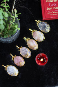 Rose Quartz Pendant | Golden Wire Wrap - 1 Piece