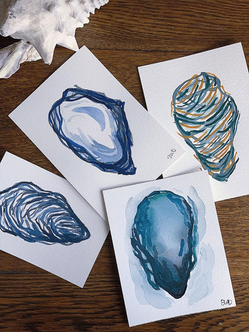 four original watercolor paintings of oyster shells