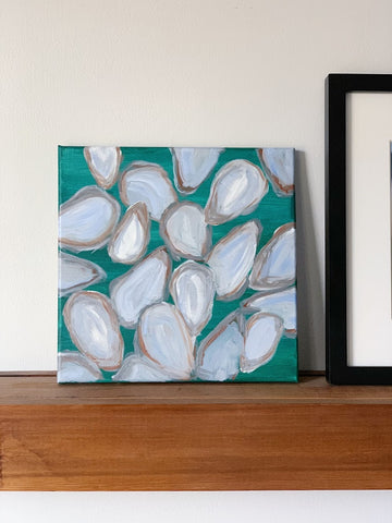 acrylic painting on canvas of oyster shells