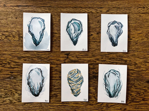 six oyster shell original watercolor paintings