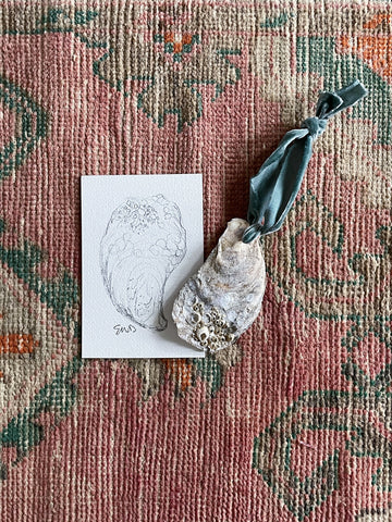 oyster ornament and oyster pencil sketch