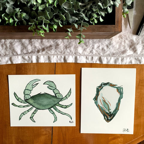 Green crab fine art print and an oyster fine art print. Originally painted with watercolor.