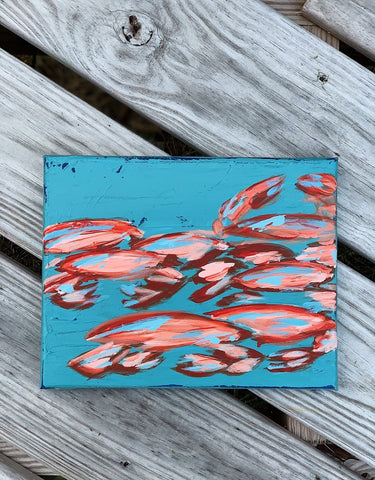 Abstract crab painting in acrylic on canvas