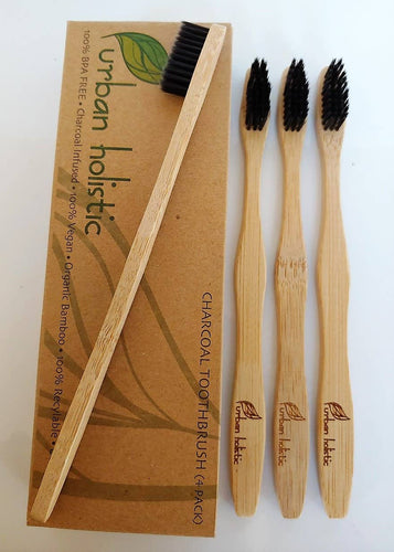Biodegradable Bamboo Charcoal Toothbrush Pack of 4