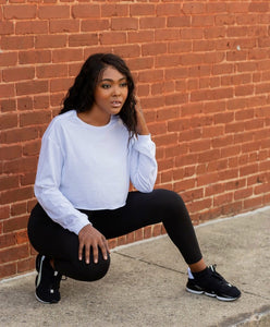 Ladies Long-Sleeve Cropped Tee