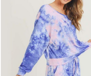 Women's Long Sleeve Lounge Around Tie-Dye Top