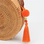 Porte Clé Pompon Sun orange