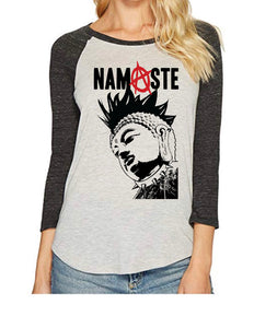 Punk Rock Namaste Yogi Raglan - Go OM Yourself