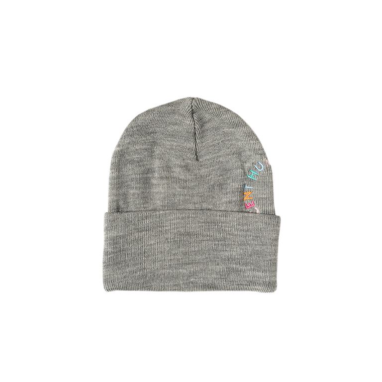 CIRCLE LOGO CUFFED BEANIE - GREY