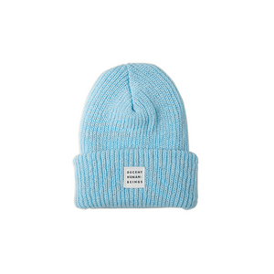 RIBBED KNIT LOGO PATCH BEANIE - MIST