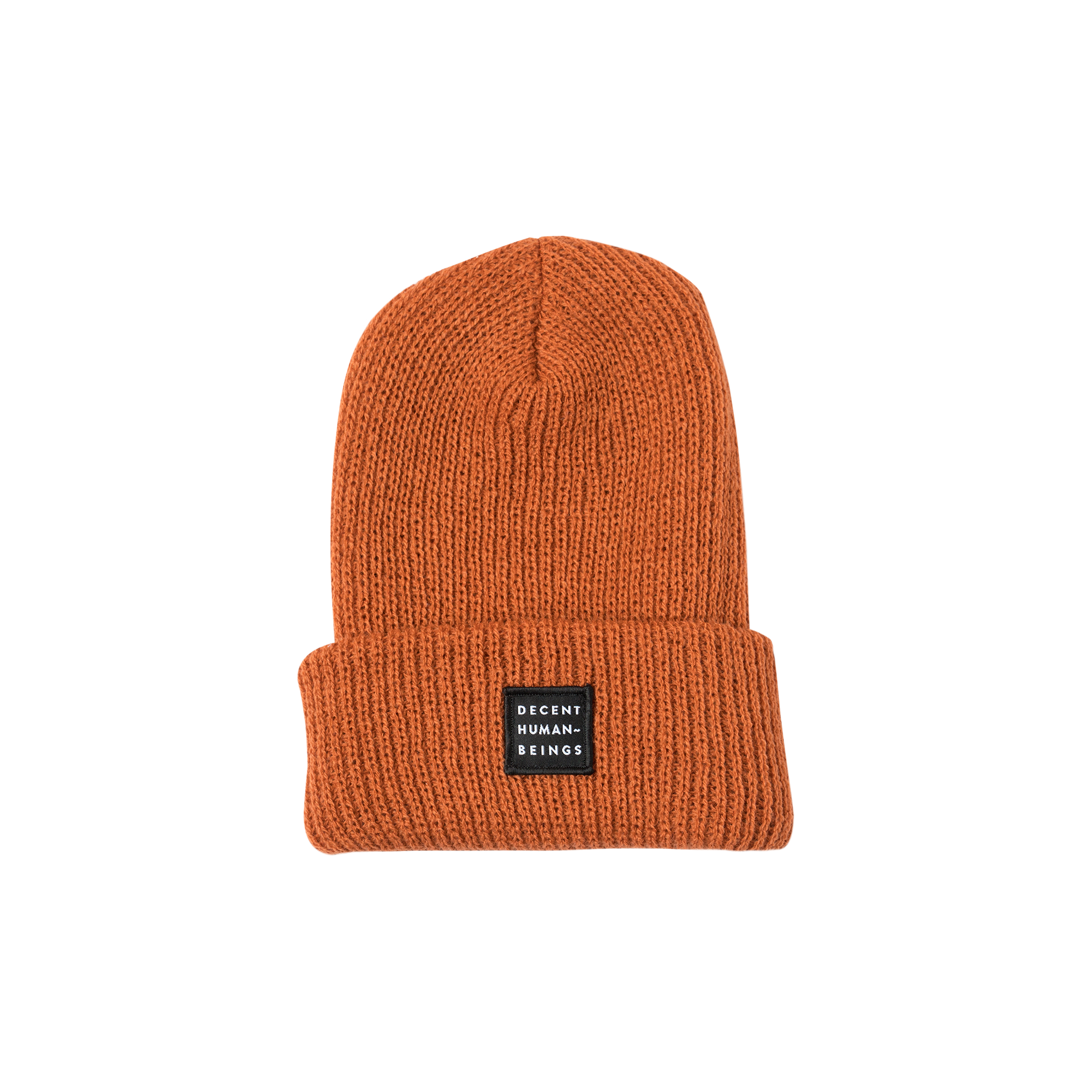 RIBBED KNIT LOGO PATCH BEANIE - BURNT ORANGE