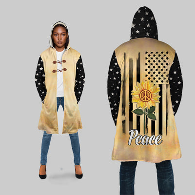 PEACE SIGN & SUNFLOWER HIPPIE HOODED COAT