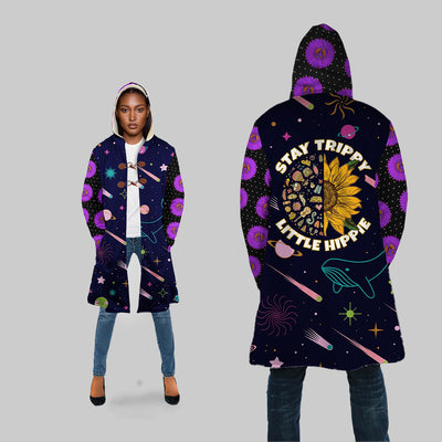 STAY TRIPPY LITTLE HIPPIE IN SPACE BACKGROUND HOODED COAT