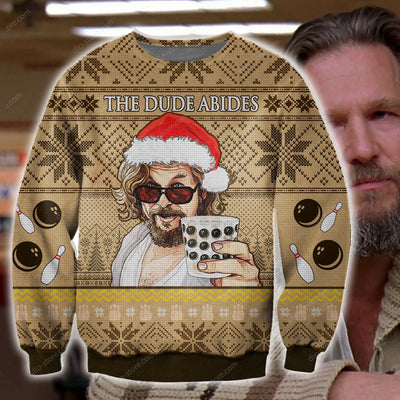 The Dude Abides KNITTING PATTERN 3D PRINT UGLY CHRISTMAS SWEATER