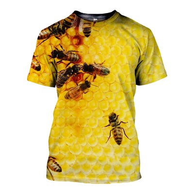 3D All Over Printed Bee T Shirt Hoodie 2212