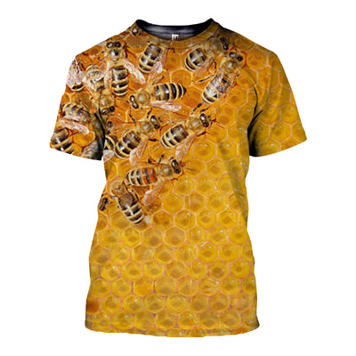 3D All Over Printed Bee T Shirt Hoodie 22129