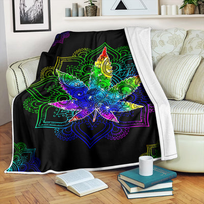A CANNABIS WITH MANDALA PATTERNS HIPPIE FLEECE BLANKET