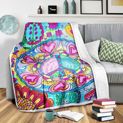 COLOURFUL PEACE, LOVE AND NATURE HIPPIE FLEECE BLANKET