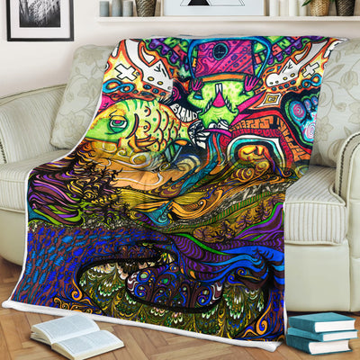 HIPPIE MESSY AND COLOURFUL FLEECE BLANKET