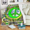 HIPPIE GREEN PEACE SIGN & THE MOON IN FLEECE BLANKET