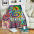 HIPPIE ALL WE NEED IS PEACE IN COLOURFUL PUZZLES FLEECE BLANKET