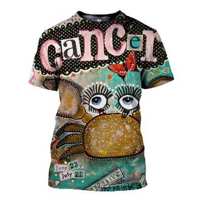 3D All Over Printed Cancer Zodiac Hoodie T Shirt 12112
