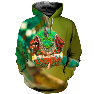 3D All Over Printed Chameleon T Shirt Hoodie 171205