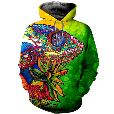 3D All Over Printed Chameleon T Shirt Hoodie 171208