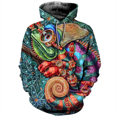 3D All Over Printed Chameleon T Shirt Hoodie 1712014