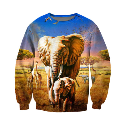 3D All Over Printed elephant T Shirt Hoodie 1512