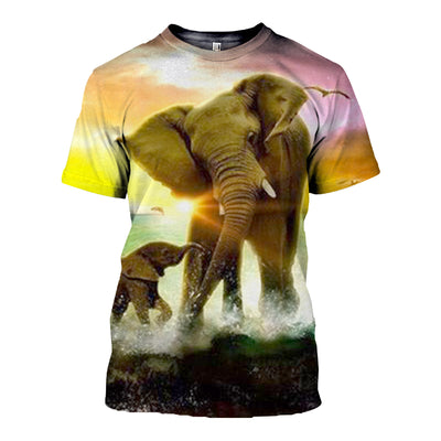 3D All Over Printed elephant T Shirt Hoodie 15125