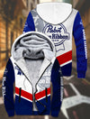 Pabst Blue Ribbon Beer Fleece Zip Hoodie